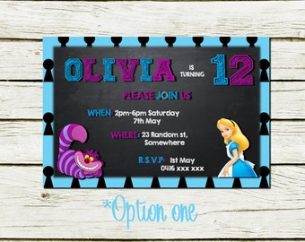 Personalised Birthday Invitations (Alice in Wonderland inspired) (DIGITAL FILE ONLY)