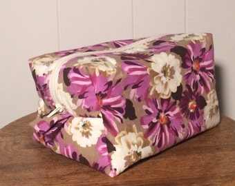 Zippered Box Pouch - Purple Floral  / Gift for mom, sister, grandma, friend