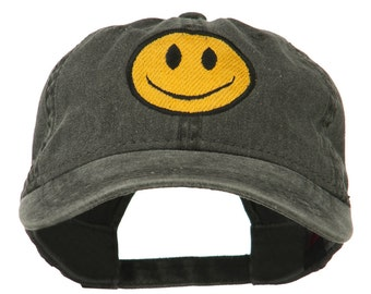 Smiley Face Embroidered Washed Cap
