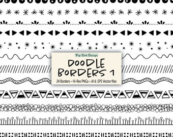 """24 Seamless Doodle Borders and Vectors - """"Doodle Borders 1"""" doodle, clipart"""