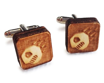 Wooden Cufflinks: Dragon FREE WORLDWIDE SHIPPING