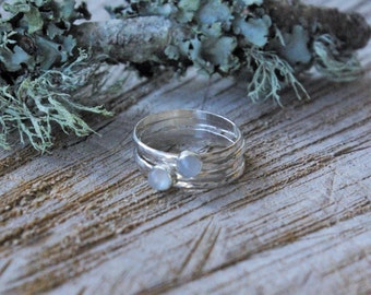 Sterling Silver Stacking Rings // Moonstone // Hammered Stacking Rings // June Birthstone // Gifts For Her // Thank You // Bridesmaids Gift