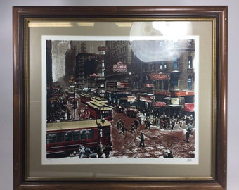 Vintage print of busy city. Autographed by artist ,147 copy out of 300