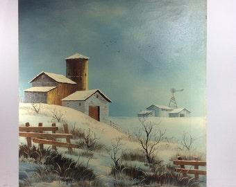 Everett Woodlon barn winter vintage oil painting canvas