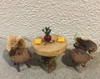 Miniature Table & Chair Set, Fairy Table, miniature, Fairy Garden Table, Fairy Tea Table