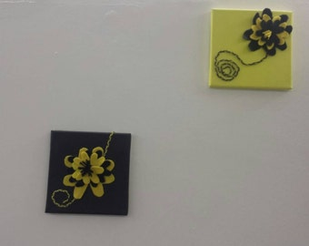 Canvas wall decor black and yellow