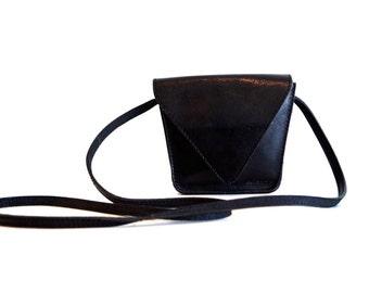 Genuine leather vintage shoulder bag. Small Black shoulder bag by Belsac. Magnetic Snap Shoulder Bag Messenger. Cross Body Bag. Denmark bag.