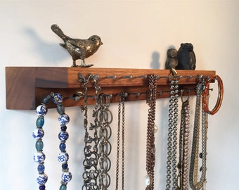 Walnut wood Jewelry Storage Necklace Holder Display Shelf Modern Organizer Handmade