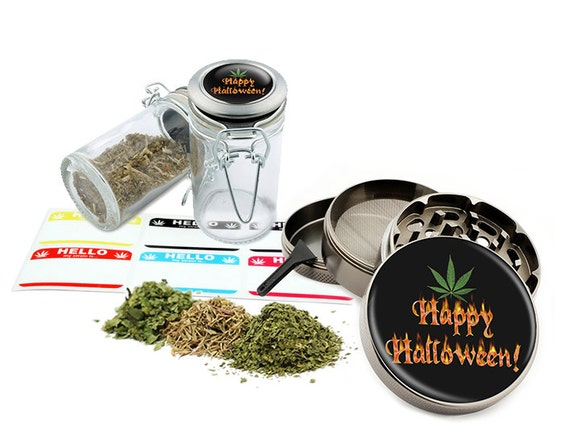 "Happy Halloween - 2.5"" Zinc Alloy Grinder & 75ml Locking Top Glass Jar Combo Gift Set Item # G022015-031"