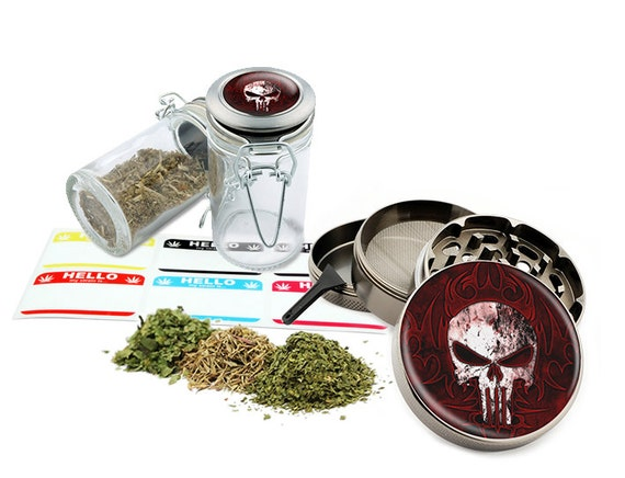 "Punisher- 2.5"" Zinc Alloy Grinder & 75ml Locking Top Glass Jar Combo Gift Set Item # G022115-002"
