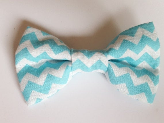 Light Blue Chevron Bow for Cat or Small Dog Collars, Matching Velcro Collar, 100% Sales Goes to Feeding Feral Cats