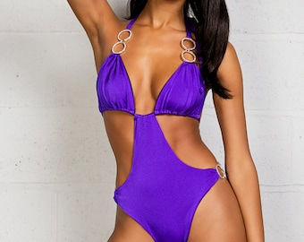 Sew Cute - Monokini - Great for enhancing curves - diamanté detail - halter neck - swimwear/swimming costume/swimsuit