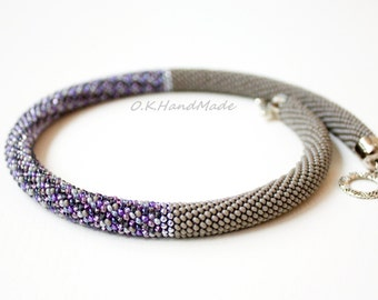 EMINENCE GRISE - Bead crochet necklace Beaded jewelry Idea for gift Beaded crochet Best gift Classic style Fashion jewelry Gorgeous Gifts 50
