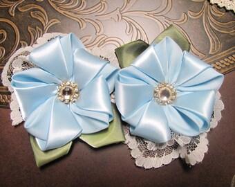 Pair of Handmade Kanzashi Flower Clips: Light Blue