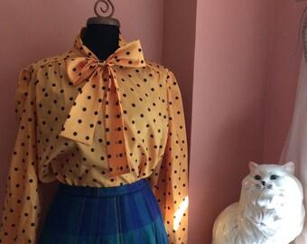 Vintage Blouse, Secretary Top, Yellow black polka dot, Halloween (B209)
