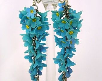"""Earrings """"Forget-me-not"""" made of air dry polymer clay"""