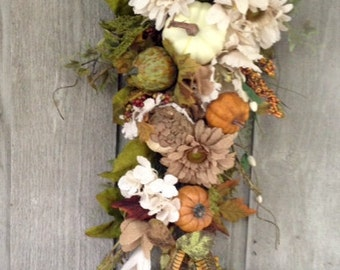 Double door swag, Everyday wreath, All natual, Door Hangings, Fall door decor, Burlap flowers