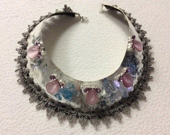 Silver plate necklace with Rhinestones and pink drops
