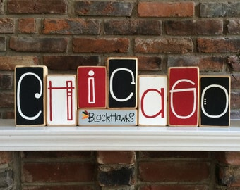 Chicago Blackhawks Decorative Blocks