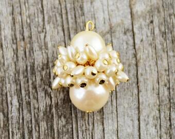 Large Pearl, Pearl Cluster, Vintage Pearl, Pearls, Pearl Pendant