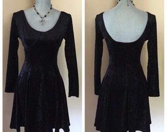 Gothic crushed velvet dress, vintage