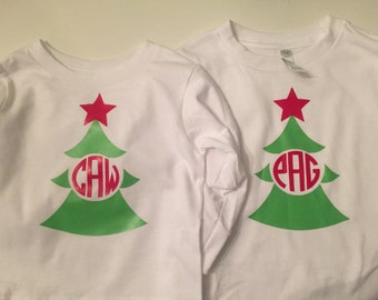 Monogram Christmas Tree-Long Sleeve