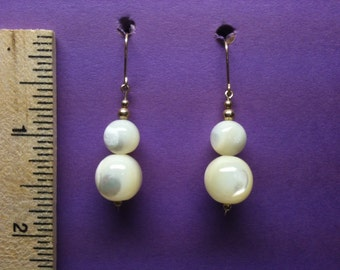 14 K goldfilled Mother of Pearl Dangle Earrings