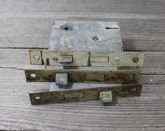 Set of three vintage door latch mechanisms, vintage door locks, vintage door latches. Door lock, vintage hardware, vintage lock, hardware