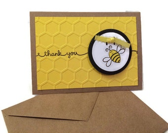 Bee Thank You Cards w/ Envelopes || Black, Kraft, Yellow || Honeycomb || Embossed
