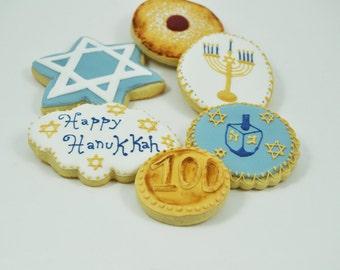 Assorted Happy Hanukkah Set of Decorated Sugar Cookies - Half a Dozen - Star of David - Menorah - Dreidel Game - Hanukkah Gelt - Sufganiyah