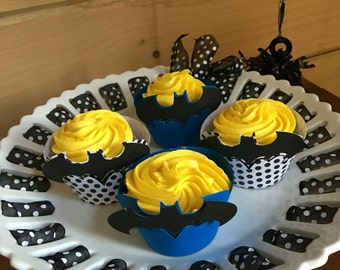 Batman Inspired Cupcake Wraps - set of 12