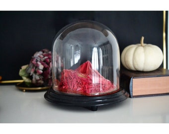 Antique Glass Dome 1900 Red, German Display Dome for Bridal Crowns, German Antique Mouth-blown Glass Cloche