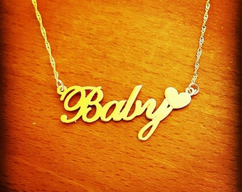 14k Gold Name Necklace /  14 ct Solid Gold Name Necklace /  Heart Nameplate Necklace / Real Gold Chain / Pure Gold Heart Name Necklace