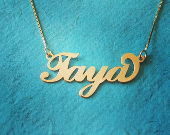 14k Gold Name Necklace - Personalized Name Chain -Solid 14k Gold Necklace with name, Nameplate Necklace, Necklace - 14k Yellow Gold UPGRADED
