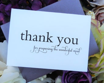 CATERER THANK YOU Card, Thank You For Preparing the Wonderful Meal, Wedding Thank You Cards, Wedding Vendor Thank You Cards