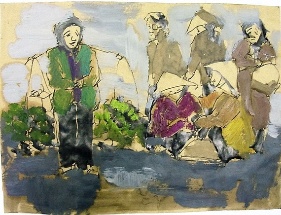 "GOOD MORNING 13X10"" gouache on paper, live painting, Vietnam village scene, original by Nguyen Ly Phuong Ngoc"