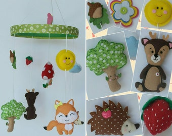 Cute Animals Hanging Ornament, Baby Mobile, Room or Wall Hanging Decoration, Handmade Home and Holiday Decor