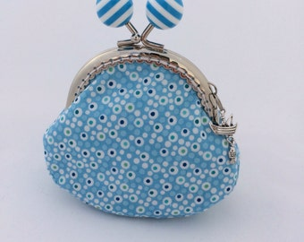 Blue Dotty Print Purse