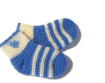 Knitted Socks for kids, warm socks, baby socks, warm gift, crocheted socks blue and milky