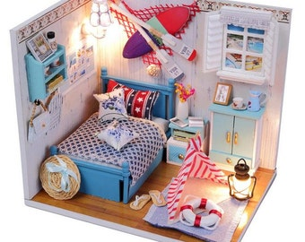 Romantic Summer Living Room Dollhouse DIY Kit, Miniature Dollhouse DIY Kit, Miniature Room, Diy Kit, Dollhouse kit, Gift - DH14