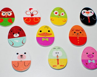 Button egg shape accessory 10 units of wood, for scrapbooking, decorating crafts, crafts