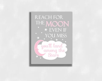 Pink Baby Girl Nursery Wall Art Canvas Prints Reach For The Moon Stars Baby Boy Baby Girl Gender Neutral Baby Nursery Decor CUSTOMIZE COLORS