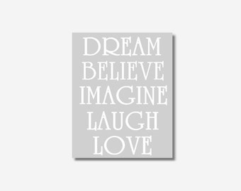 Baby Girl Nursery Wall Art Gray White Canvas Prints Dream Believe Imagine Laugh Love Inspirational Girl Room Home Decor CHOOSE COLOR