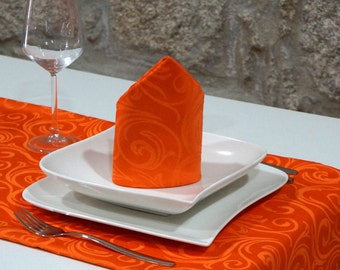Luxury Orange Table Runner - Anti Stain Proof Resistant - Pack of 2 units - Ref. Lyon