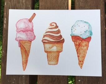 3 Watercolour Ice Cream Cones Unframed 5x7 Art Print