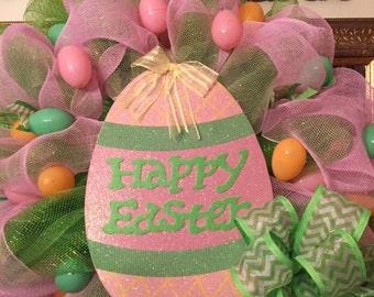 Happy Easter Deco Mesh Wreath