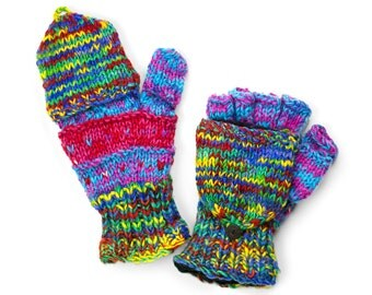 Wool Convertible Mittens, Texting Gloves, Hand Knit Glittens - Multi-Primary Colors - 1653B