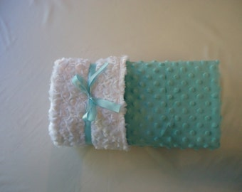 Soft and Cuddly Teal Minky Baby Blanket