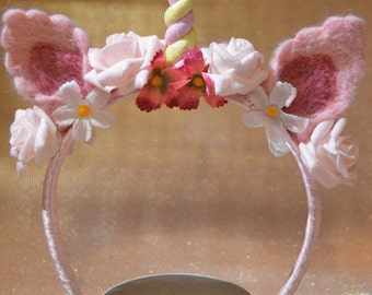 Unicorn hair wreath / flowers hair wreath