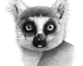 Lemur dotwork made with steadler pen 0.05 and 0.1. Printable download.